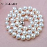 YIKALAISI 2017 9-10mm Natural Freshwater Pearl choker Necklace 925 <b>sterling</b> <b>silver</b> <b>jewelry</b> real Pearl Necklace with for women