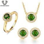 DOUBLE-R Natural Diopside Bridal Jewelry Sets Classic Women Wedding Ring Female Green Round 925 <b>Silver</b> Pendant <b>Earrings</b> sets