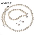 HOOZZ.P Sterling <b>silver</b> 6-7mm white freshwater cultured pearl set AAA quality women jewelry sets