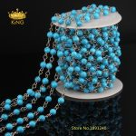 Handmade 6mm Smooth Round Tur quoise Beads Rosary Chains for Necklaces Bracelets Making Blue Color Howlite <b>Jewelry</b> <b>Supply</b> LS21
