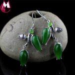 flower jewelry sets elegant tulip big jasper natural gemstone necklaces pendants real 925 sterling <b>silver</b> long <b>earrings</b> women