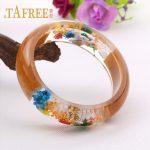TAFREE Charm Wood Transparent Resin Bangle Bracelet Mixed Dried Flower Starfish Conch Bracelet Women <b>Jewelry</b> RF29
