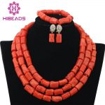 Luxury Coral Beads Bridal <b>Jewelry</b> Sets African Nigerian Wedding Beads for Women <b>Jewelry</b> Set Choker <b>Necklace</b> Free Shipping ABF312