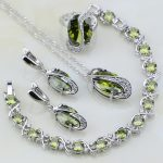 Olive Green Cubic Zirconia White CZ 925 Sterling <b>Silver</b> Jewelry Sets For Women Wedding Earring/Pendant/Necklace/<b>Bracelet</b>/Ring