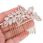 Bella <b>Fashion</b> Rose Gold Tone Luxury Leaf Teardrop Bridal Hair Comb Cubic Zircon Wedding Hair Piece Accessories For Party <b>Jewelry</b>