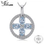 JewelryPalace Flower 0.8ct Natural Aquamarine Pendant <b>Necklace</b> 925 Sterling <b>Silver</b> Box Chain 45cm Fashion Jewelry For Women Gift