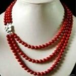 Beautiful 3 rows 6mm red artificial coral round beads necklace natural shell clasp women <b>jewelry</b> <b>making</b> 17-20inch YE2110