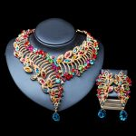 LAN PALACE African beads necklace <b>jewelry</b> set gold color necklace and earrings for <b>wedding</b> free shipping