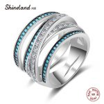 Shineland Luxury Women <b>Wedding</b> Rings 100% 925 Sterling Silver <b>Jewelry</b> Blue Stone CZ Crystal Stackable Finger Ring Vintage Bijoux