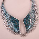 Angel wings bib necklace women biker bling <b>jewelry</b> gifts adjustable <b>antique</b> silver color W crystal ZN01 wholesale dropshipping
