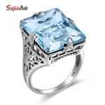 Szjinao 100% 925 Sterling Finger Rings <b>Handmade</b> Elegant New Brand <b>Jewelry</b> Vintage Austrian Aquamarine For Women Wholesale
