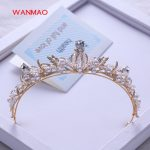 High-end gold luxury beaded crown princess hair accessories bridal knot <b>wedding</b> accessories women's <b>jewelry</b> HD410