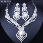 Fashion Peacock tail feathers shaped Necklace and Earrings for Women Elegant White Crystal Rhinestones Bridal <b>Jewelry</b> sets