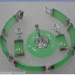 Women's Wedding silver Green GEM Pendant bracelet earring sets fast chain >AAA GP Bridal wi silver-<b>jewelry</b> moda