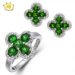 Hutang Stone Jewelry Natural Chrome Diopside White Diamond Solid 925 Sterling <b>Silver</b> Jewelry Sets Flower Ring <b>Earrings</b> Fine Gift