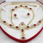 Prett Lovely Women's Wedding set red gem zircon necklace, earing, bracelet ring mujer brincos for <b>jewelry</b>