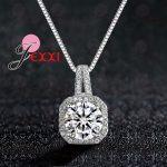 YAAMELI Genuine 925 Sterling Silver Super Shining Square Design Cubic Zircon Pendant Necklaces For Women Bridal <b>Wedding</b> <b>Jewelry</b>