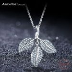ANFASNI New Arrival 925 Silver Leaf Pedant Necklaces Charm Cubic Zirconia Sterling Silver Necklace <b>Jewelry</b> For Women <b>Wedding</b>
