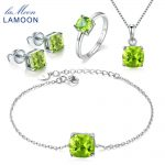 LAMOON Real 100% S925 Sterling <b>Silver</b> Natural Gems Green Peridot Jewelry Sets for Women Fine Jewelry Wedding Accessories V018-1