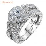 Newshe 1.2 Ct Round Cut CZ 925 Sterling Silver Halo <b>Wedding</b> Ring Sets Engagement Band Classical <b>Jewelry</b> For Women JR4968