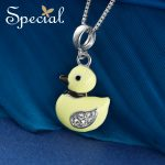Special New Fashion 925 <b>Sterling</b> <b>Silver</b> Necklaces & Pendants Lovely Duck Maxi Necklace Enamel <b>Jewelry</b> Gifts for Women S1634N