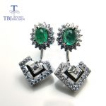 TBJ,Natural green emerald unique dianna two design <b>earring</b> studs 925 sterling <b>silver</b> gemstone jewelry for women with gift box