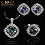 CWWZircons Elegant Square Mystical Colorful Crystal <b>Jewelry</b> Set For Women Cubic Zirconia Necklace Earring And Ring Sets T264