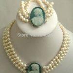 (Minimum Order1)Natural 3 row 7-8mm White Akoya Pearl Cameo Necklace Bracelet Beads <b>Jewelry</b> Set <b>Making</b> Natural Stone 18inch