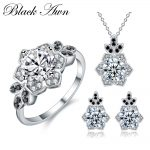 [BLACK AWN] 925 Sterling <b>Silver</b> Fine Jewelry Sets Trendy Engagement Sets Ring+<b>Earring</b>+Necklace for Women PTR151