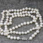 Natural pearl 7-8mm pearls white beads for women long chain charms necklace gifts wholesale price <b>jewelry</b> <b>making</b> 36inch B3239