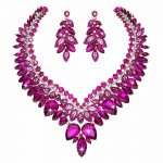 Uniquely high quality Crystal <b>Jewelry</b> sets bridal wedding <b>necklace</b> earrings golden plated fuchsia color Women party <b>jewelry</b>