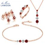 LAMOON 925-sterling-<b>silver</b> Natural Red Garnet 3PCS Jewelry Sets Fine Jewelry for Women Wedding V041-1
