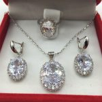 925 <b>Sterling</b> <b>Silver</b> Necklace Pendant Earrings Ring Size Clear White Zircon Rhinestone <b>Jewelry</b> Sets For Women Free shipping
