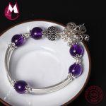 S925 Sterling <b>Silver</b> <b>Bracelet</b> For Women Natural Amethyst Heart Lock Women <b>Bracelets</b> & Bangles Ethnic Tassel Bangle Jewelry YB30