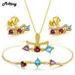 MoBuy Topaz/Garnet/Amethyst Gemstone 100% 925 Sterling <b>Silver</b> 3pcs Jewelry Sets For Women Engagement Fine Jewelry V013EHN