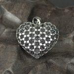 <b>Necklaces</b> & Pendants Genuine 925 Sterling <b>Silver</b> Heart Pendants For Women Hollow 3D Cubic Design Vintage Jewelry Girlfriend Gift