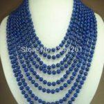 (Minimum Order1) 8 rows 6mm Blue Lapis Lazuli Necklace Rope Chain Beads <b>Jewelry</b> <b>Making</b> Natural Stone 17-24inch