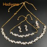 HADIYANA Zirconia Leaf Shape 4pcs Choker <b>Necklace</b> <b>Jewelry</b> Sets For Women, CZ Choker Style <b>Necklace</b> With Adjustable Chain CN502