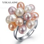 YIKALAISI brand 2017 Hot <b>Fashion</b> Real Pearl <b>Jewelry</b> Water Drop Natural Freshwater Pearl Flower Wedding pearl Ring For Women Gift