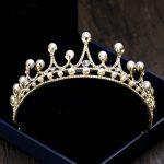 Pearl Crowns Gold Bride Tiaras Hair Ornaments Princess Crown Pearl Headband For Women Wedding <b>Jewelry</b> Headdress