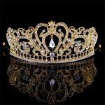 New Fashion Baroque Golden Crown Bridal rhinestone Headband Princess Diadem Crystal Hair <b>Jewelry</b> Gift For <b>Wedding</b> Accessories