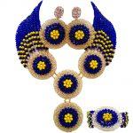 ACZUV Royal Blue Yellow African Beads Costume <b>Necklace</b> Nigerian Wedding <b>Jewelry</b> Sets 10C-4PH009
