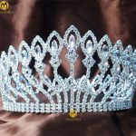 Floral Full Round Tiara 4″ Clear Crystal Crown <b>Wedding</b> Bridal Headband Beauty Pageant Prom Party Costumes Hair <b>Jewelry</b>