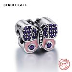 Fit Authentic European Bracelets Silver 925 Original Purple CZ stone Butterfly Charms DIY Beads Pendant <b>Antique</b> <b>Jewelry</b> Gifts