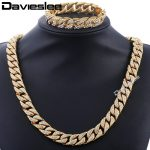 Davieslee Curb Cuban Womens Mens Necklace <b>Bracelet</b> Gold <b>Silver</b> Color Jewelry Set Hiphop Miami Bling Iced Out 14mm DGS261