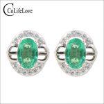 Classic sivler emerald <b>earrings</b> 2 pcs 4 mm * 6 mm natural I grade emerald stud <b>earrings</b> solid 925 <b>silver</b> emerald <b>earrings</b>