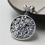 JINSE Wholesale S999 Silver Round Hollow Flower Necklace Pendant Solid Silver <b>Handmade</b> Customized Cute Peony Pendant DIY <b>Jewelry</b>