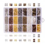About 2580Pcs/Box Mixed Color Fold Over Iron Cord Ends Ribbon End Jump Rings Lobster Claw Clasps <b>Jewelry</b> <b>Making</b> Findings