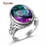 Szjinao Rainbow Mystic Emerald Ring Genuine 925 Sterling <b>Silver</b> Big Rings For Women Fashion <b>Jewelry</b> Christmas Gifts