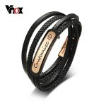 Vnox Free Engraving Men's Leather Bracelet Customized ID Multi-Layer Braided Link Chain Bracelet for Male <b>Jewelry</b> 7.9 Inch